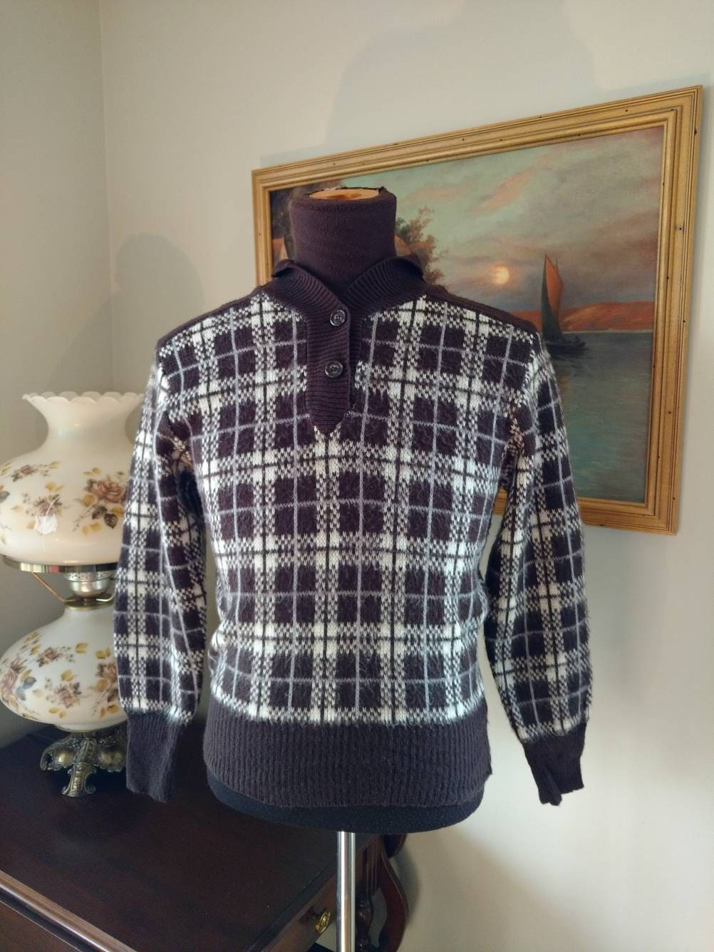 6f13292c6bd8 Vintage Kmart Sweater Brown Plaid Acrylic Made in Korea Size
