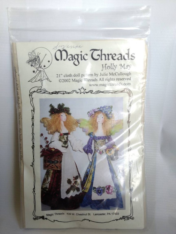Folk Art Winged Angels Holly May a 21 Cloth Doll Pattern by Julie McCullough for Magic Threads Christmas Decor