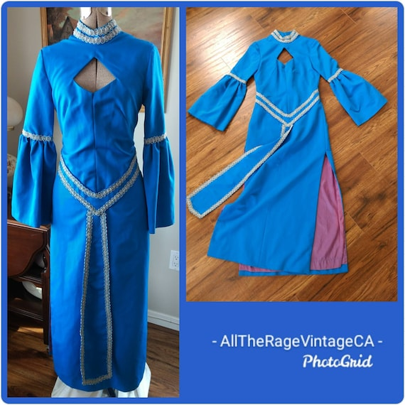 1960s Evening Gown Blue Medieval Dress Costume