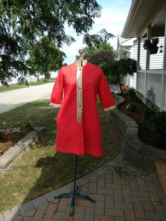 Quilted Polyester Housecoat Robe Coral Gold Reitma