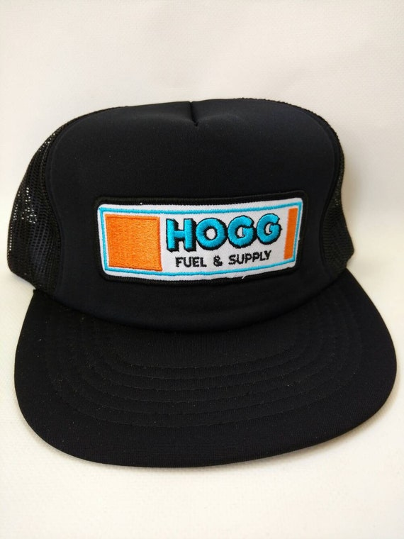 1be4465606c Hogg Fuel and Supply Trucker Hat Mesh Snapback 1980s Black Cap