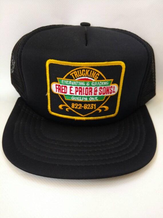 18c5ea2998a Retro Trucker Hat Black Mesh Snapback Fred. E. Prior and Sons