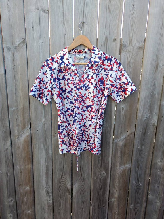 Vintage Shirt Red White Blue Polyester Blouse Retro Plus Size Etsy