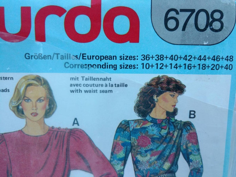 Burda 6708 Dress Sewing Pattern Womens Plus Size 10 12 14 16 18 20 Uncut
