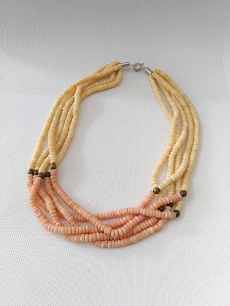 Vintage Bone Bead Necklace Peach Pink Creamy Off White Multi Strand Retro Boho Tropical Pastel