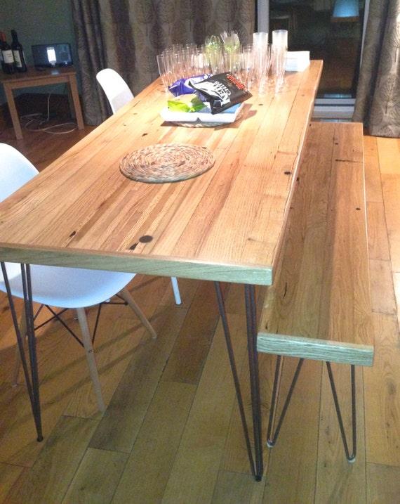 Eiche Esstisch aufgearbeiteten Holz Haarnadel Beine | Etsy