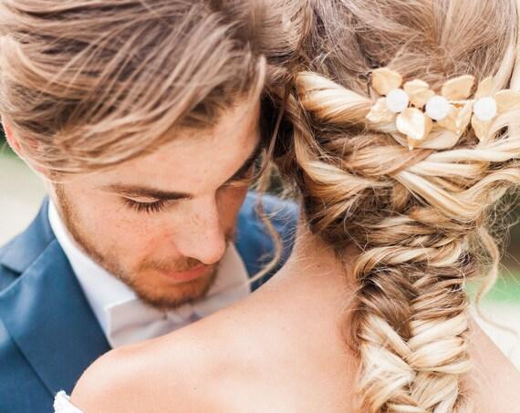 Gold Leaf Hair Comb, Gold Leaf Hair Piece, Bridal Hair Comb, Rose Quartz Hair Comb, Gold Leaf Headpiece, Rose Quartz, Amazonite, Agate GEM
