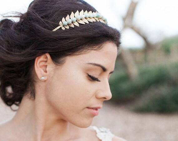 Bridal Headband, Mint Green Headband, Laurel Leaf Headband, Gemstone Headband, Wedding Headband, Leaf Headband, Amazonite Stone HOPE