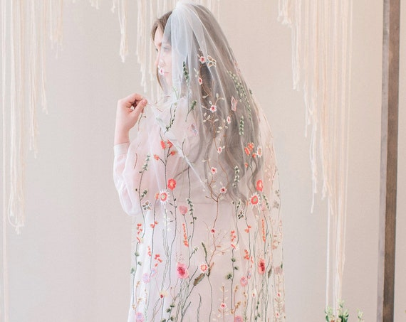 Floral Veil, Mesh Floral Veil, Flower Veil, Secret Garden Veil, Embroidered Veil, Floral Embroidery Veil, Flora and Fauna, Flowers FLORA