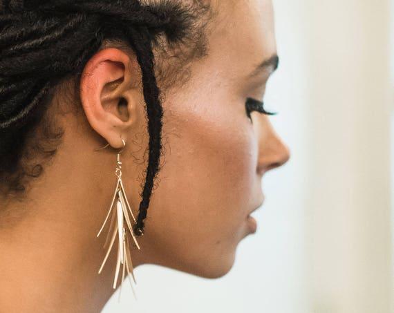 Dangle Drop Earrings, Gold Long Earrings, Gold Earrings, Boho Earrings, Matte Gold Earrings, Bridal Earrings, Matte Gold, Boho Luxe LUXE