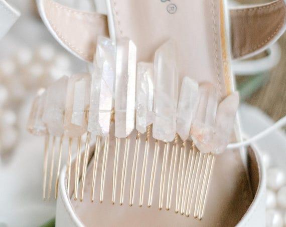 Crystal Hair Comb, Boho Hair Comb, Quartz Hair Comb, Rose colored Bridal Comb, Festival Hair Comb, Quartz, Rose Luster Quartz TRUE LOVE