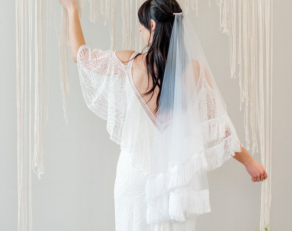 Drop Veil, Hip Length Blusher Veil, Wedding Veil, Fringe Veil, Fringe Trim, Boho Veil, Bohemian Veil, Double Layered Veil HARLOW