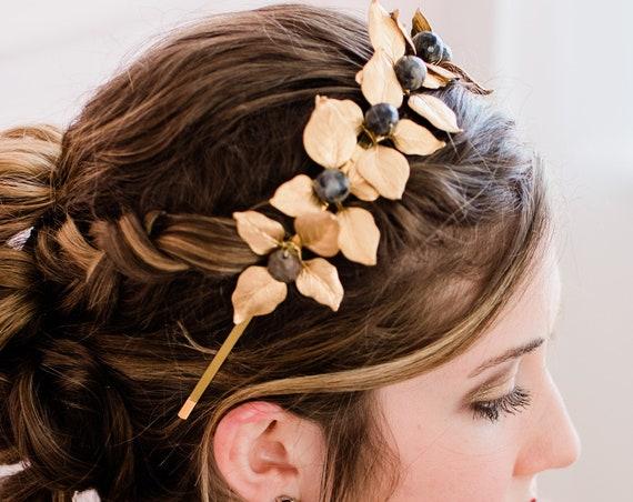 Bridal Tiara, Wedding Accessory, Leaf Tiara, Black Labradorite Headband, Wedding Tiara, Bridal Leaf Crown, Crown, Black Onyx ROMANTIQUE