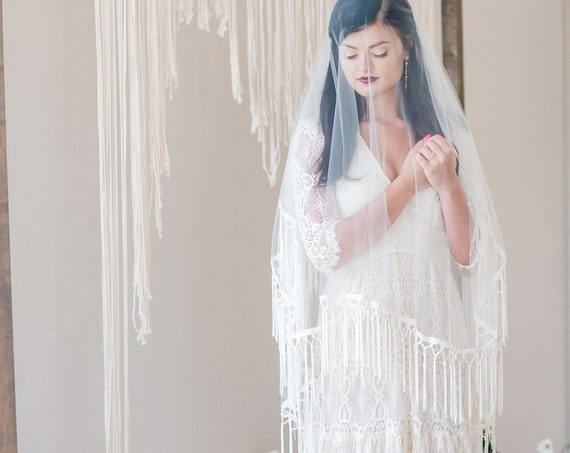 Drop Veil, Hip Length Blusher Veil, Wedding Veil, Macrame Trim Veil, Fringe Trim Veil, Boho Veil, Bohemian Veil, Double Layered WINDSONG