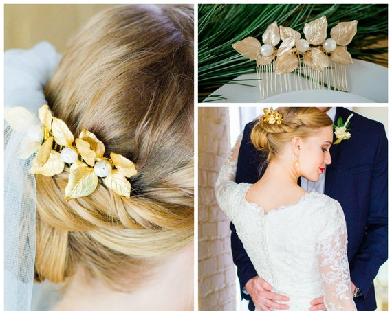 Gold Leaf Hair Comb, Gold Leaf Hair Piece, Bridal Hair Comb, Pearl Hair Comb, Gold Leaf Headpiece, Freshwater Pearl, Hairpiece TRUE PEARL