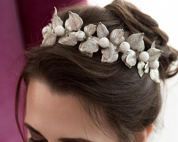 Bridal Tiara, Wedding Accessory, Leaf Tiara, White Howlite Headband, Wedding Tiara, Bridal Leaf Crown, Bridal Crown, Leaf Crown EMILIA