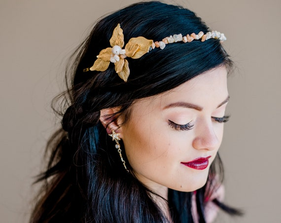 Bridal Headband, Wedding Accessory, Leaf Headband, Moonstone Tiara, Moonstone Headband, Wedding Headband, Boho, Boho Headband JUNIPER