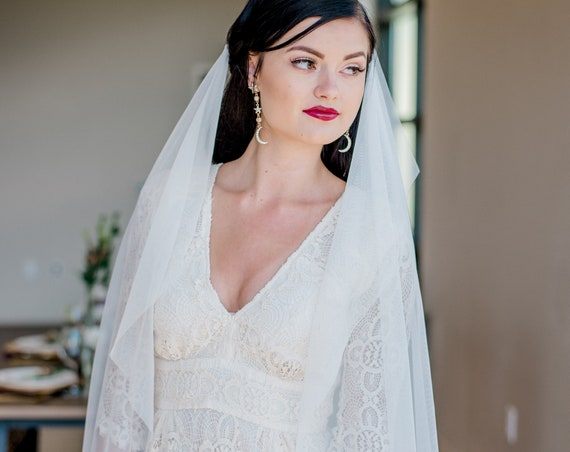 Drape Veil, Draped Veil, Swag Veil, Bohemain Veil, Boho Veil, Two Comb Draped Veil, Ankle Length Veil, Long Veil, Simple Veil TAHOE