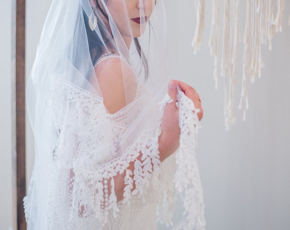 Drop Veil, Hip Length Blusher Veil, Wedding Veil, Fringe Veil, Leaf Fringe Trim, Boho Veil, Bohemian Veil, Double Layered Veil PAISLEY