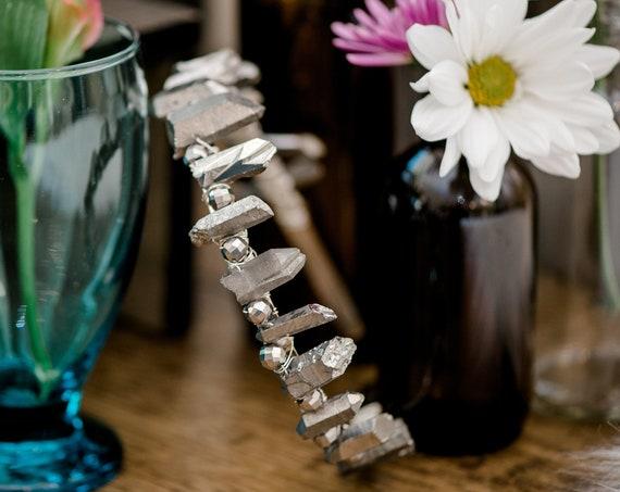 Bridal Tiara, Wedding Accessory, Festival Crown, Iris Rock Crystal Crown, Silver Quartz, Crystal Tiara, Gemstone Tiara, Gothic Crown IRIS