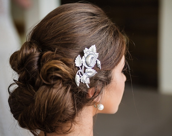 Victorian Hair Clip, Rose Hair clip, Victorian Flower Floral Hair Barrette, Silver Ox Brass, Cabbage Rose, Victorian Garden BRIAR ROSE