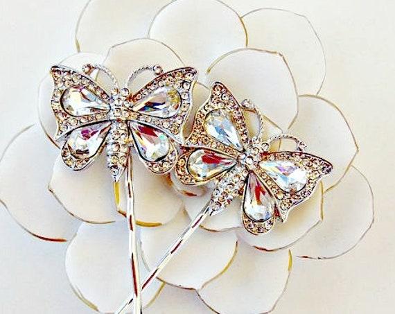 SALE Rhinestone Butterfly Hair Pins, Rhinestone Butterfly, Butterfly Hair Pins, Butterfly Hair Clips, Rhinestone Hair Pins, Bridal Hair Pins