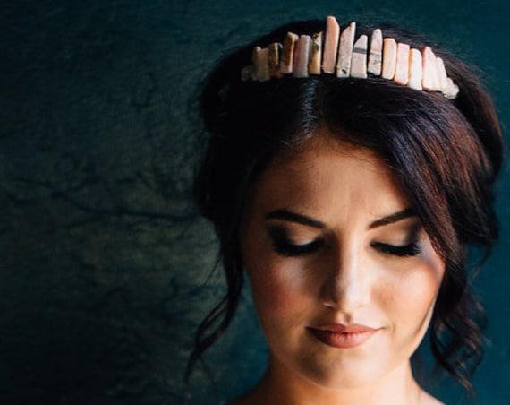 Bridal Tiara, Wedding Accessory, Wedding Tiara, Pink Bridal Crown, Rose Quartz Tiara, Peruvian Opal Tiara, Gemstone Tiara, Gem Crown OPAL