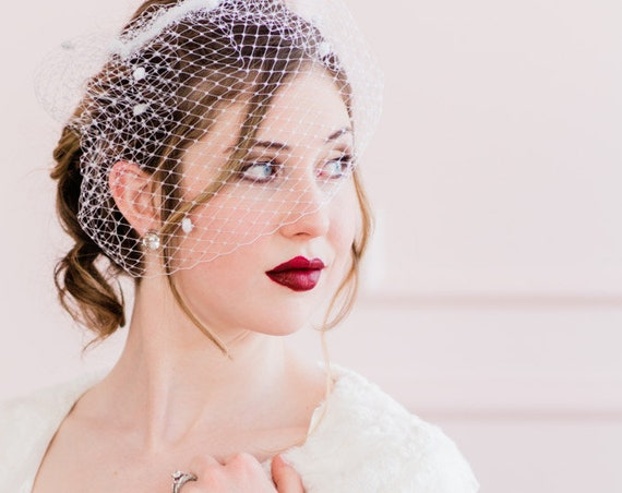 Birdcage Veil, Wedding Veil, Chenille Dot Veil, French Veil with Dots, Bird Cage Veil, Blusher Veil, Chenille Dots, Dotted Veil DOVE