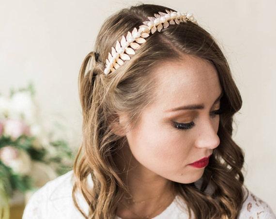 Bridal Headband, Wedding Accessory, Laurel Leaf Headband, Pearl Headband, Wedding Headband, Leaf Headband, Freshwater Pearl JUNE