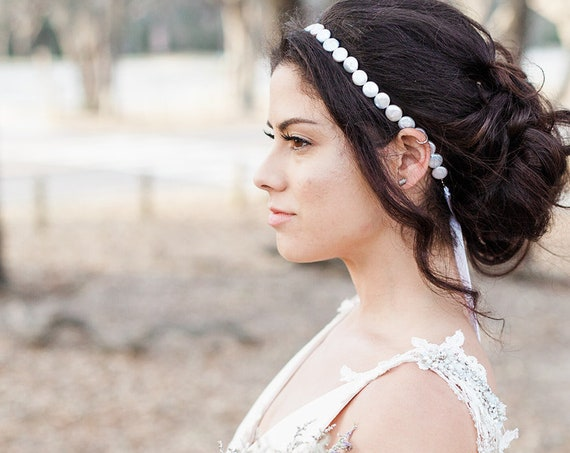 Bridal Headband, Wedding Accessory, Pearl Headband, Wedding Headband, Freshwater Pearl Headband, Bridal Headpiece, Coin Pearl Halo SPIRIT