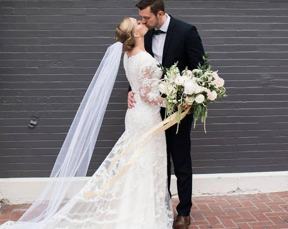 Waltz Length Veil, Wedding Veil, Bridal Veil, Single Tier Veil, Simple Veil, Ankle Length Bridal Veil, Pink Veil, Long Bridal Veil ALAYNA