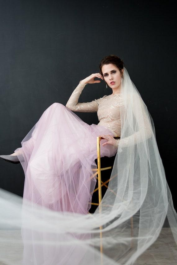 Cathedral Length Veil, Wedding Veil, Bridal Veil, Single Tier Veil, Simple Veil, Long Bridal Veil, Pink Veil, Cathedral Length Veil, HARLIE