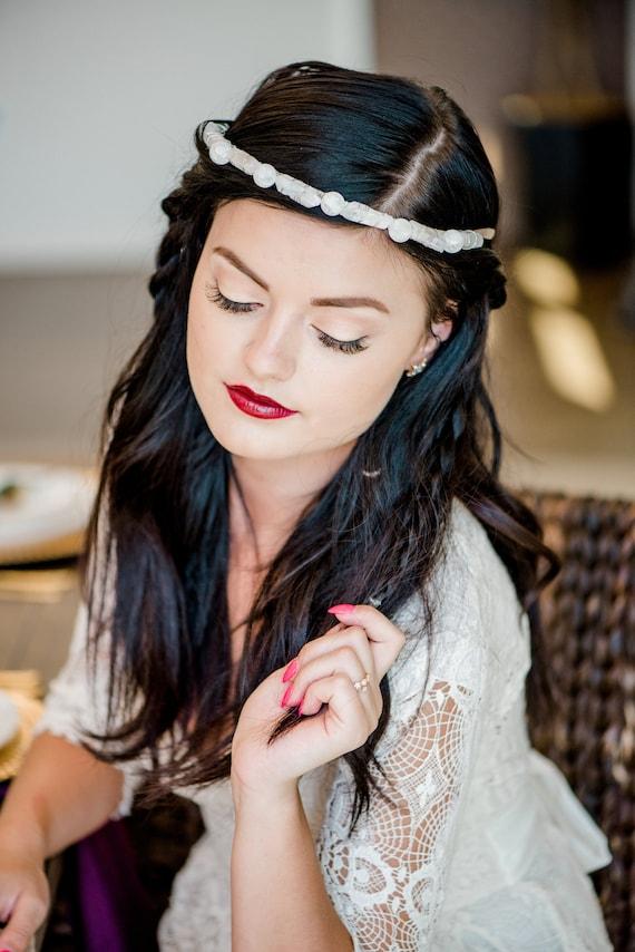 Raw Quartz Crystal Headband, Crystal Headband, Wedding Headband, Bridal Halo, Boho Headband, Quartz Headband, Wedding Crown, Boho, CLOUD