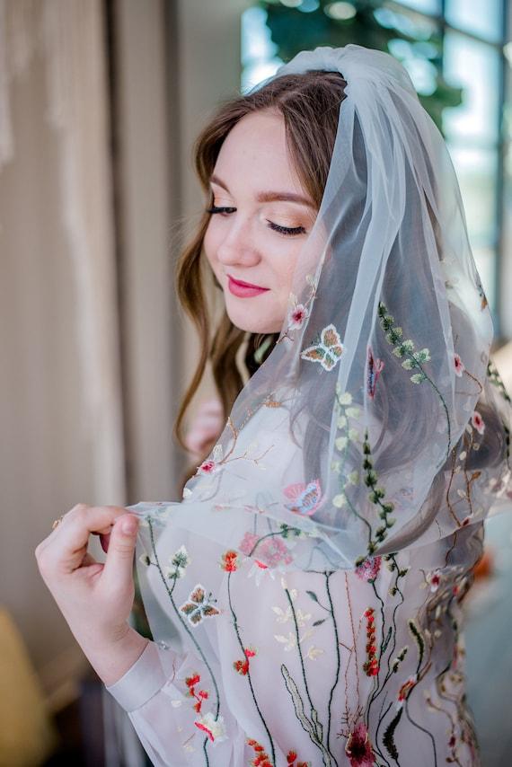 Floral Veil, Mesh Floral Veil, Flower Veil, Secret Garden Veil, Embroidered Veil, Floral Embroidery Veil, Flora and Fauna, Flowers FLORA