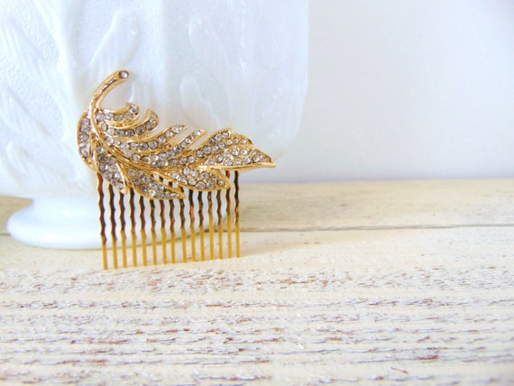 SALE Clear Pave Rhinestone Gold Feather Bridal Hair Comb, Feather Hair Comb, Gold Hair Comb, Rhinestone Feather Comb, feather comb, POET