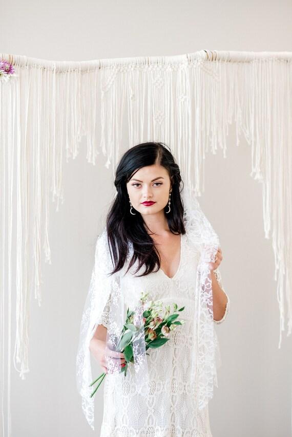 Ribbon Veil, Lace Veil, Lace Ribbon Veil, Bridal Ribbon Veil, Beach Veil, Boho Veil, Chantilly Lace Veil Unique Veil, White Veil POLLY