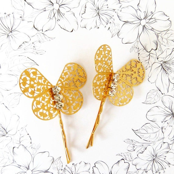 SALE Gold Butterfly Hair Pins, Butterfly Hair Clips, Wedding Hair Pins, Gold Butterfly, Rhinestone Hair Pin, Butterfly Bobby Pins HARMONY