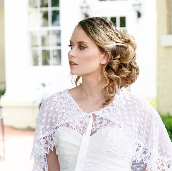 SALE White Bridal Lace Capelet, Lace Cloak, White Lace Cape, Capelet, Bride Capelet, Bridal Coverup, White Capelet, Lace Capelet CAROLINE