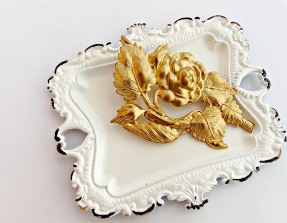 SALE Victorian Hair Clip, Gold Rose Hair Clip, Victorian, Bridesmaid, Floral Hair Barrette, Bridesmaids, Cabbage Rose, Victorian VICTORIAN