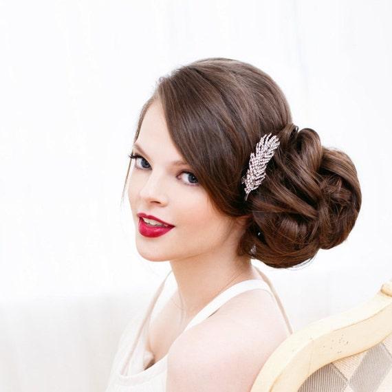 Clear Pave Rhinestone Bridal Hair Clip, Feather Hair Clips, Silver Hair Clip, Rhinestone Clip, Art Deco, Rhinestone Hair Clip Feather BREEZY