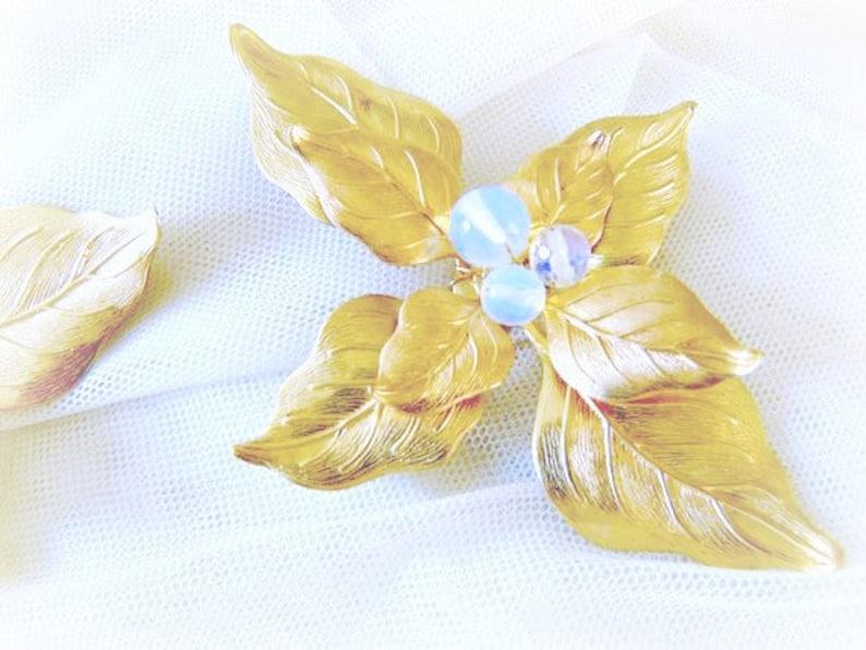 Gemstone Hair Clips Large Gold Leaf Hair Clips Opal Hair Clips OPALITE Sea Opal Gold Leaf Hair Piece Headpiece Bridal Hair Clips