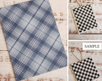 Wood Plaque with Fabric Mat, Premade Cross Stitch Finishing Piece, Cross Stitch Finishing, Blue and White Plaid