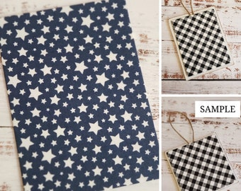 Wood Plaque with Fabric Mat, Premade Cross Stitch Finishing Piece, Cross Stitch Finishing, White Stars on Navy