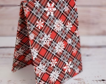 Fabric Easel, Premade Cross Stitch Finishing Piece, Flatfold, Cross Stitch Finishing, Finishing Service, Red and Black Plaid Snowflakes