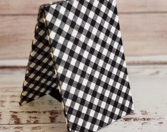 Fabric Easel, Premade Cross Stitch Finishing Piece, Flatfold, Cross Stitch Finishing, Finishing Service, Black and White Large Buffalo Check