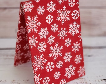 Fabric Easel, Premade Cross Stitch Finishing Piece, Flatfold, Cross Stitch Finishing, Finishing Service, Red Snowflakes