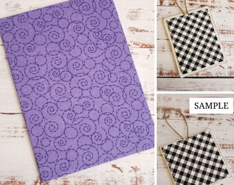 Wood Plaque with Fabric Mat, Premade Cross Stitch Finishing Piece, Cross Stitch Finishing, Purple Scrolls