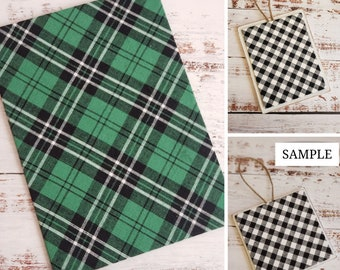 Wood Plaque with Fabric Mat, Premade Cross Stitch Finishing Piece, Cross Stitch Finishing, Green and Black Plaid