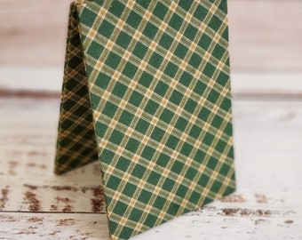 Fabric Easel, Premade Cross Stitch Finishing PIece, Flatfold, Cross Stitch Finishing, Finishing Service, Green and Gold Homespun Plaid