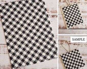 Wood Plaque with Fabric Mat, Premade Cross Stitch Finishing Piece, Cross Stitch Finishing, Black and White Large Check